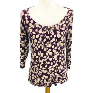 Boden Blouse Floral Print Gathered Neckline Purple